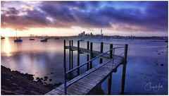 Sulphur Beach Jetty (cjhall.nz) Tags: tokina1120 canonr newzealand framedinnz longexposure wideangle northshore boats yachts morning firstlight daybreak dawn sunrise landscape cityscape city auckland harbour waitemata wharf pier jetty road sulphurbeach