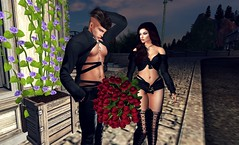 """"""" Please take the roses, Don't be angry with your wife, Love """" 2/4 (Scarlett Saphira) Tags: bouquet 50 roses red couple lovers life second sl secondlife give him flowers catwa head magy victor maitreya bento signature street lovely loving love spouse wife husband bf gf scarlettsaphira zeboran scarlett saphira"""