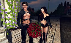 """"""" Please take the roses, Don't be angry with your wife, Love """" 3/4 (Scarlett Saphira) Tags: bouquet 50 roses red couple lovers life second sl secondlife catwa head magy victor maitreya bento signature adore moment flowers shop lovely"""