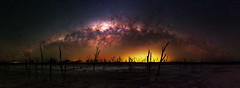 Milky Way at Yenyening Lakes, Western Australia (inefekt69) Tags: yenyening lakes salt lake dead trees panorama stitched mosaic ms ice milky way cosmology southern hemisphere cosmos western australia dslr long exposure rural night photography nikon stars astronomy space galaxy astrophotography outdoor core great rift ancient sky d5500 landscape nikkor prime beverley wheatbelt 50mm ioptron skytracker hoya red intensifier waycarinanebulaenorth america nebula