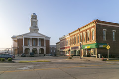Garrard County Courthouse and Buildings — Lancaster, Kentucky (Pythaglio) Tags: building structure historic civic government twostory brick classicalrevival 44windows stone lintels sills courthouse lancaster kentucky garrardcounty threebay pediment portico columns corinthian capitals arcaded arches roundarched entablature clock tower gdl1 1868 1918