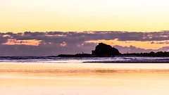 Silhouette in Purple and Gold (armct) Tags: creek estuary currumbin sunrise silhouette horizon skyline morning early golden purple magenta calm surf spit peninsula sand seagulls