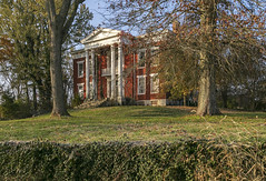 Thomas Salter House — Lancaster Vicinity, Garrard County, Kentucky (Pythaglio) Tags: house dwelling residence historic farmhouse ihouse twostory brick greekrevival 1838 centralpassage pediment portico pedimented trabeateddoorway colonettes columns corinthian capitals gate fence trees entablature dentils 66windows lintels sills stone metal lancaster kentucky garrardcounty nrhp nationalregister 85001296