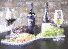 Broken Bokeh (clarkcg photography) Tags: modify change alter create bokeh wine wineglass grapes cheese sliderssunday