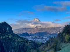 View of Kufstein and clouded Pendling mountain from Zahmer Kaiser mountains in Tyrol, Austria (UweBKK (α 77 on )) Tags: österreich kufstein tyrol tirol austria europe europa iphone zahmerkaiser zahmer kaiser kaisergebirge mountain pendling cloud sky blue morning early sun sunrise view landscape landschaft scene scenic scenery tree forest outdoors nature