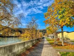 Promenade along the river Inn in autumn in Kufstein, Tyrol, Austria (UweBKK (α 77 on )) Tags: österreich kufstein tyrol tirol austria europe europa iphone autumn autumnal fall herbst promenade walk river inn color tree baum laub
