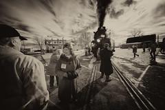 _DSC3453 Peggy-IR Sepia (Charles Bonham) Tags: ashleymi peremarquette1225 steamengine steamrailroadinstitute steam smoke railroad tracks winter sonya7r infrared michigan charlesbonhamphotography