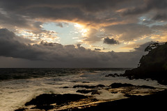 Sunrise Surf and Storm (armct) Tags: surf rocks shore shoreline cliff ocean storm cloud sunrise goldcoast border horizon skyline weather front sky waves