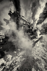 _DSC3445 Steam & Smoke B&W IR (Charles Bonham) Tags: peremarquette1225 steamengine steamrailroadinstitute steam smoke railroad tracks winter sonya7r infrared michigan charlesbonhamphotography