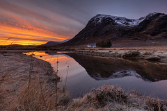 Sunrise at the little white cottage on the banks of the river Coe, Glencoe, Scotland (Michael Long Landscaper) Tags: canon canoneosr canon1635mm uk canonuk gitzo benro nationalpark nisi landscape landmark glencoe glenetive buachaille nisifilters scotland scottish scottishhighlands scenic tripod longexposure sky dramatic view white house whitehouse mountain mountainscape river rivercoe valley etive etivemor winter frost snow reflection sunrise