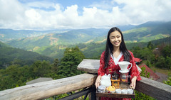 Asian girl relax with hot cofee and hot tea set on view point of doi sakad (anekphoto) Tags: relax hot point view top tourism tour traveler travel woman lady girl thai thailand asia asian northern cloud mountain landmark sky morning sakad coffee tea doi landscape pua rainforest lua blue hill outdoor cool countryside nature green sakadnanthailand architecture village summer mist house clouds nanthailand forest fog puananthailand valley hills