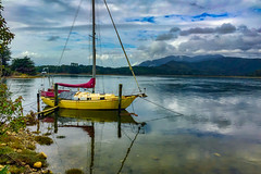 Beautiful yellow yacht moored by the shore ready for sailing (stewart.watsonnz) Tags: watercraft boat nature lake sea sky landscape water vehicle reflection sailboat cloud summer watertransportation transportation outdoors ocean loch waterfront recreation fisherman pier travel lakedistrict seashore land calm marina beach tree plant tourism cumulus leisure weather noperson fishingvessel bay dinghy dawn mountain back harbor rowboat barge fishing