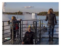 On the Schelde waterbus (AurelioZen) Tags: europe belgium vlaanderen schelde industry antwerpen waterbus staff voyagers exhaustfumes
