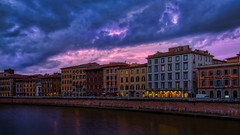 Pisa - Toscana (norbert.wegner) Tags: europe architecture night famousplace urbanscene history river water city cityscape old canal dusk tourism travel house builtstructure town sky buildingexterior italy pisa