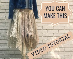 Lace Fairy Skirt Video Tutorial - Sewing Tutorial - Tattered Lace Skirt - Wedding Skirt - Sewing Pattern - Sewing Class - gypsy skirt by PrimitiveFringe (Primitive Fringe) Tags: upcycled clothing boho shabby chic handmade etsy mori girl