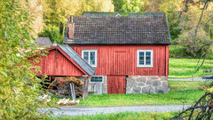 Old sawmill (tonyguest) Tags: sawmill rustic building wooden wood trees green mien kronoberg sweden tonyguest stone window topaz hss countryside