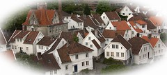 Cluster of Cottages (Audrey A Jackson) Tags: canon60d norway stavengar cottages white roofs windows doors