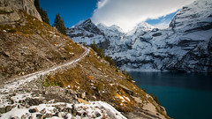 Circling Oeschinen Lake, Switzerland (throzen) Tags: switzerland swiss alps alpine trees mountain mountains hill hills rocky rockies europe landscape nature outside outdoors peaks view views cloud hiking winter scenic scenery photography dslr canon eos 70d snow snowy beauty beautiful