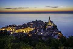 The calm sunset... (- photozol -) Tags: piran primorskaistria slovenia sony ilce a7r2 sel24105g europe union european istria coast adriatic sea bay sunset summer architecture temple history building mirrorless fe mount long exposure old town tradition travel night cityscape landscape gold blue