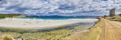 Tasmania, Maria Island Ferry Jetty (Yannick Butenschoen) Tags: fujifilm xe3 xc1545mm f3556 ois p sea shore jetty ferry maria isand tasmania australia clouds silos landscape skyline hiking seascape shoreline