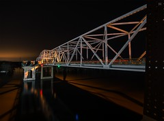 Exoskeletal. (Nomadic Complacency) Tags: night architecture bridge construction midwest mississippiriver landscape longexposure structural sony sonyalpha sonya6000