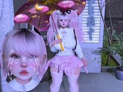 Caught In The Rain~ (CandyCottonDreams) Tags: secondlife sl cute uniform fantasy rain tears sadgirl umbrella pink kawaii curvy catwa daria belleza freya bonbon s0ng mai bilavio momochuu {sakura} yokai momoko blog lotd birth