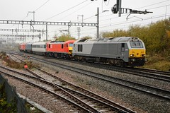 67012 & 90035. Swindon. 14-11-2019 (*Steve King*) Tags: class 67 67012 67028 dvt 82115 90035 90 db schenker swindon highworth junction 5q91 transfer didcot parkway overhead electric test train wires