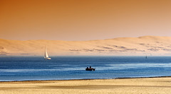 Arcachon bay (hbensliman.free.fr) Tags: travel france nature sea coast landes sand water boat dune