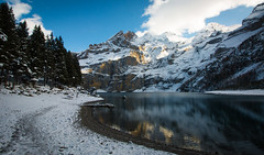 Oeschinensee Lake, Switzerland (throzen) Tags: switzerland swiss alps alpine trees mountain mountains hill hills rocky rockies europe landscape nature outside outdoors peaks view views cloud hiking winter scenic scenery photography dslr canon eos snow snowy beauty beautiful