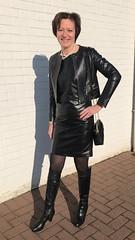 New black leather patent dress and matching jacket (valkex1) Tags: black lady mature otkboots dress patent leather