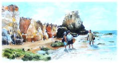 Algarve - Portugal (guymoll) Tags: algarve portugal plage praia beach falaises croquis sketch aquarelle watercolour watercolor aguarela acuarela océan mer