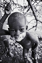 Mundari Girl (Rod Waddington) Tags: africa african afrique afrika south sudan mundari tribe traditional tribal girl culture cultural child outdoor blackandwhite mono monochrome tree ethnic ethnicity minority cattle camp