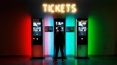 Cinema Tickets..... (markwilkins64) Tags: cinema tickets colourful brightcolours neonlights lights streetphotography street candid london uk glow red pink blue green boxoffice neon plugpoints markwilkins