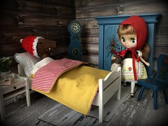 """""""Little Red Riding Hood"""" BaD 11/17/19 (Foxy Belle) Tags: petite blythe fairytale little red ridinghood dollhouse miniature doll diorama 110 scale grandmother house cottage cabin lundby"""