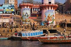 Ghats, Varanasi, India (klauslang99) Tags: klauslang travel photography ghats varanasi india ganges river buildings boats people