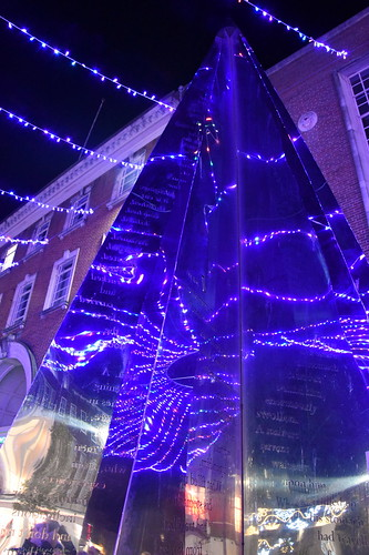 Exeter Riddle sculpture at Christmas 2019