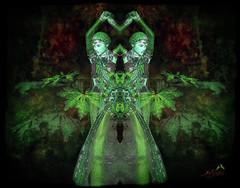 Mystery in the wood (SØS'Art) Tags: dance eyes girls leaf mirror solveigøsterøschrøder art artistic photoshop filterforge nature digitalart photomanipulation wood