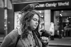 Birds of a Feather (Leanne Boulton) Tags: urban street candid portrait portraiture streetphotography candidstreetphotography candidportrait streetportrait streetlife woman female girl face expression eyes mood feeling atmosphere pigeon pigeons birds animals wildlife feral nature feralpigeon perch hand hair curiosity unusual strange tone texture detail depthoffield bokeh naturallight outdoor light shade city scene human life living humanity society culture lifestyle people canon canon5dmkiii 70mm ef2470mmf28liiusm black white blackwhite bw mono blackandwhite monochrome glasgow scotland uk