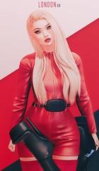 London (GayGuyRai) Tags: catwa secondlife red dress stripes gay maitreya submissive club lipstick boots blonde latex fashion sl skin bdsm heels black london
