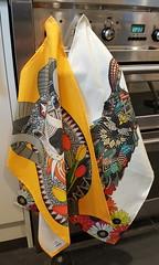 Aries ram saffron and llama daisy love chalk tea towels (Scrummy Things) Tags: teatowels linencottoncanvas scrummy spoonflower roostery ram ariesram llama animalteatowels illustration sharonturner