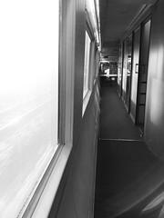 en route (Rosmarie Voegtli) Tags: travel blackandwhite train corridor zug voyager vitesse gangway windows doors fenster türen