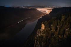 Bastei - Elbe (Rafael Zenon Wagner) Tags: night nacht sachsen sächsischeschweiz saxony germany deutschland elbe river fluss shining nikon d810 sigma 40mm 14 longexposure langzeitbelichtung