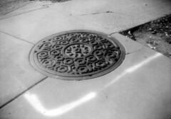 untitled (kaumpphoto) Tags: b2cadet boxcamera 120 ilford hp5 bw black white oval round pattern city urban street manhole sidewalk line minneapolis