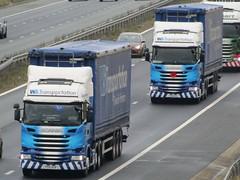 WS Transportation Scania R450s (PO18NVW & PO18NVX) On The A1M Southbound (Gary Chatterton 7 million Views) Tags: wstransportation scaniatrucks scaniar450 po18nvw po18nvx trucking wagon lorry haulage distribution logistics motorway flickr canonpowershotsx430 photography