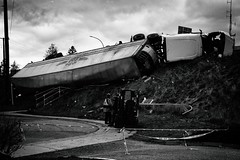 Over the Hill (Crusty Da Klown) Tags: semi truck vehicle crash accident trailer hill over overthehill bank bw black white monochrome canon outside outdoors contrast bc britishcolumbia canada semitruck semitrailer semitrailertruck eighteenwheeler freighter rig bigrig tractortrailer