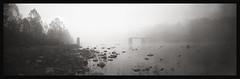 Daybreak at the Bridge (DRCPhoto) Tags: ondu617 ondurama pinhole lenslessphotography panoramic kodakbw400cn 120film cheatriver albright prestoncounty westvirginia