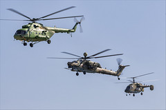 Mil Mi-17V-5, Mil Mi-28NM, and Kamov Ka-226 - 01 (NickJ 1972) Tags: maks zhukovsky airshow 2019 aviation mil mi17 mi8 hip 742 kamov ka226 hoodlum rf90600 mi28 havoc rf13489 70 red