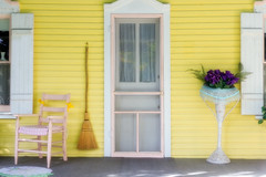 The Yellow Porch (Robert F. Carter) Tags: porch porches yellow chairs brooms doors petoskey bayview michigan digitalpainting digitalpaintings ngs ncs impressionism impressionist impressionists ngc