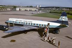 G-AZNB. Vickers Viscount 813 EGPF 1974 (MarkP51) Tags: gaznb vickers viscount 813 britishmidland bm bma glasgow airport gla egpf scotland airliner aircraft airplane plane image markp51 sunshine sunny practica llc kodachromeii kodachrome slide film scan