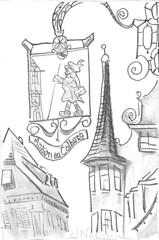 Colmar (Just Back) Tags: colmar france alsace border sign shop steeple town frankreich francua man symbol travel ad werbung